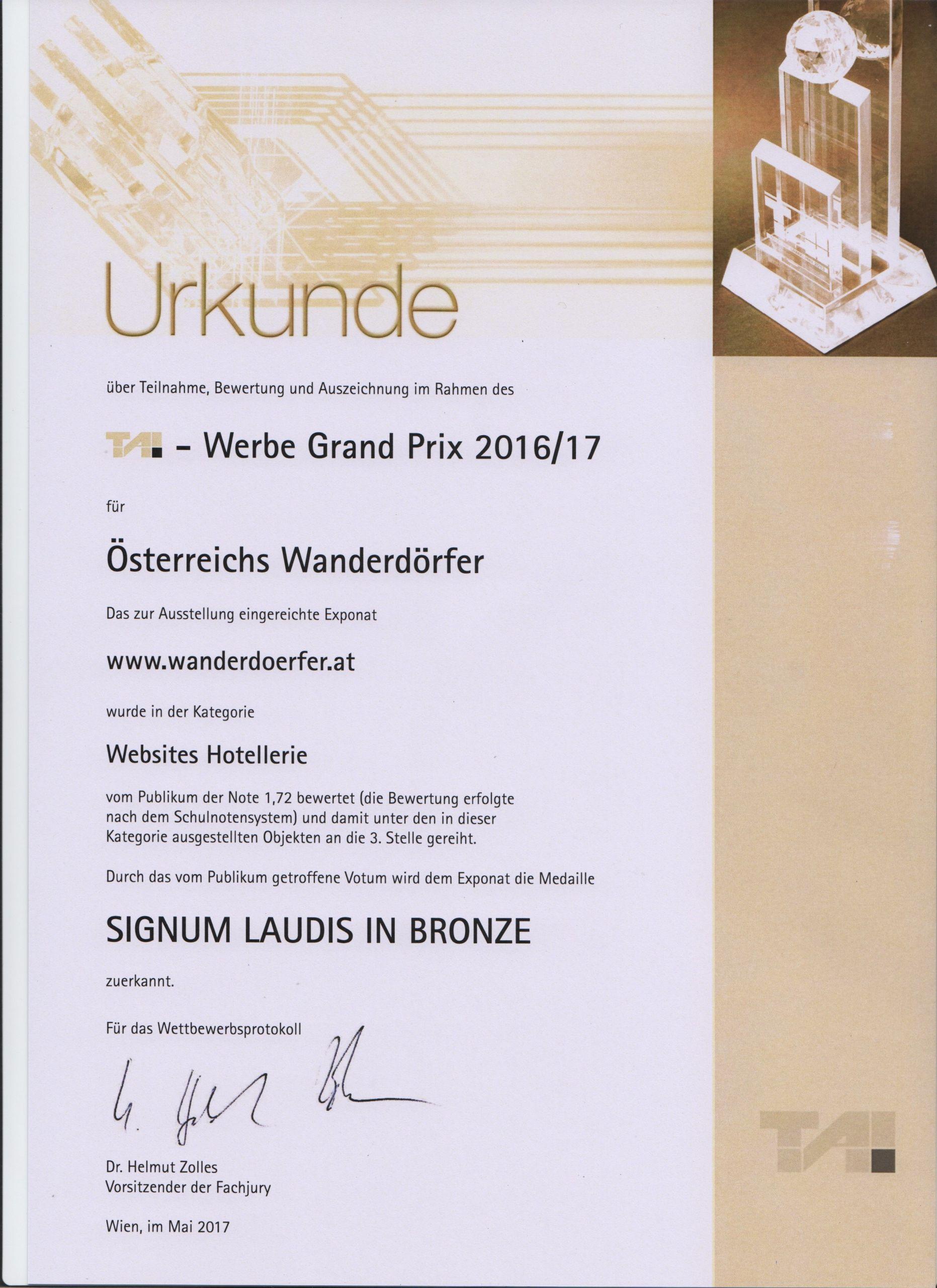 Urkunde Signum Laudis Bronze