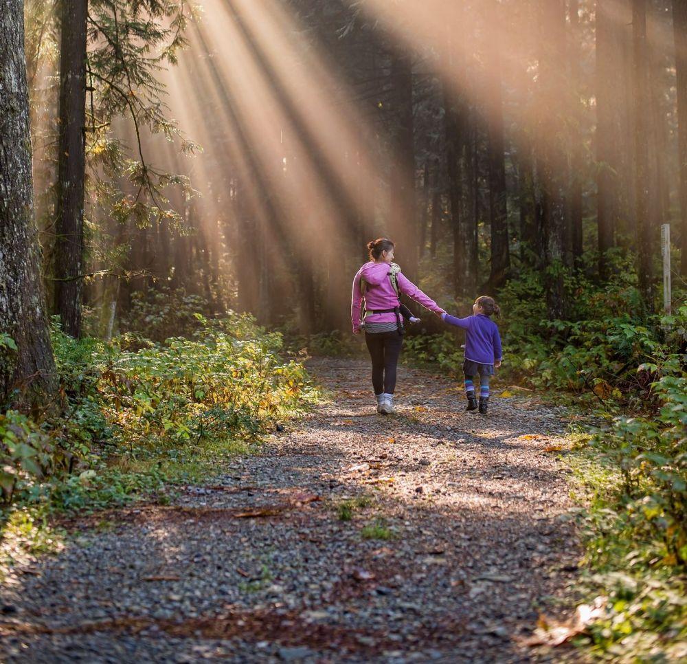 Frau mit Tochter wandern durch Wald, Pixabay