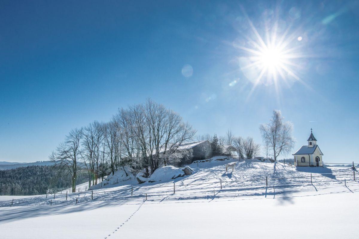 Winterlandschaft und Kapelle_Moorbad Harbach © Waldviertel Tourismus, Robert Herbst