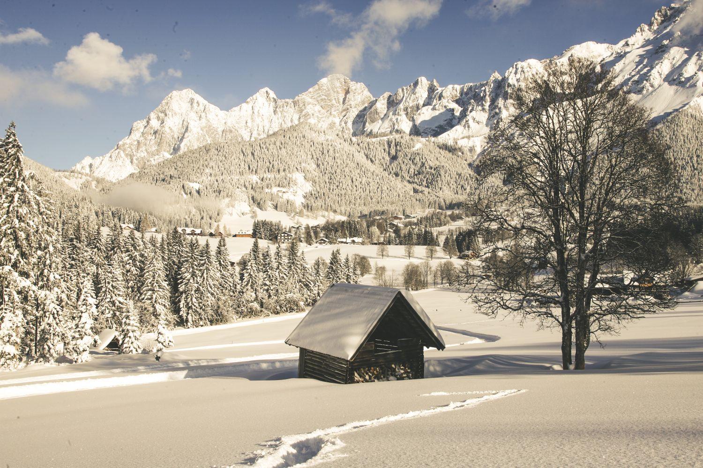 Blick zum imposanten Dachsteingebirge