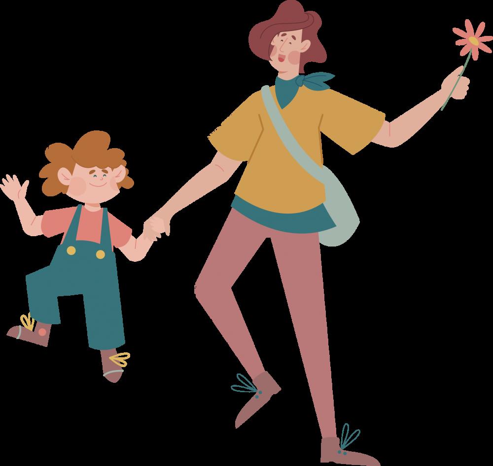 Mama und Kind auf der Wiese